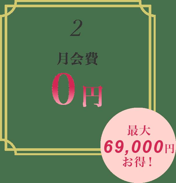 2.月会費0円 最大69,000円お得